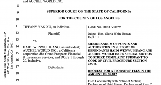 关于 Tiffany Yan Xu Vs 黄海蒂 诉讼进程
