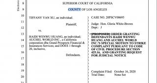 美國奧淇宏盛总裁黃海蒂贏得了加州洛杉磯县高等法院的勝訴,法庭终结性驳回美国互惠集团总裁Tiffany Yan Xu 原提出的訴訟案,并支付我方律師費用
